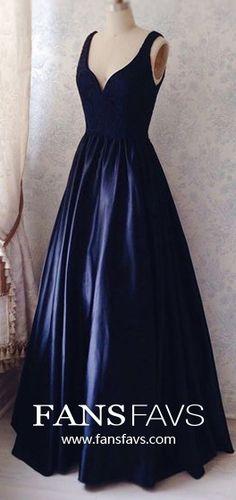 Long Prom Dresses Blue, Ball Gown Prom Dresses V Neck, Satin Prom Dresses Lace, Simple Prom Dresses Elegant #FansFavs #bluedresses #ballgowns #vneckdress