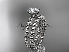 14k white gold diamond wedding ring, engagement set ADLR34S  This is gorgeous vine pattern ring. It has 12 VS-SI/G color diamonds total weight of