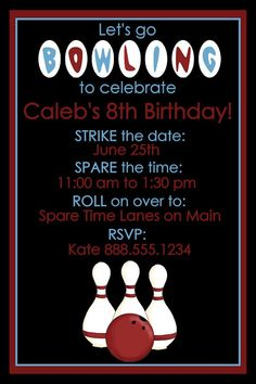 Personalized Bowling Birthday Party Invitation Design Digital YOU PRINT Invite Boy Bowl. $10.00, via Etsy.