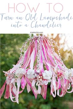 An Afternoon Creating In The Studio…Ribbon Work Chandelier Ribbon Chandelier. Would be so cute in a little girls room! Diy Ombre, Ribbon Chandelier, Chandelier Ideas, Lampshade Chandelier, Flower Chandelier, How To Make Chandelier, Girls Chandelier, Christmas Chandelier, Ribbon Crafts