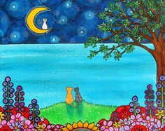 Rileys Moon  A reproduction print from an original acrylic painting. The image is reproduced here is low resolution, the print you will receive is