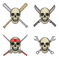 Buy Set of Four Skulls with Different Objects by SelivanoffArt on GraphicRiver. Set of four skulls with different objects. Skull with bats, wrenches, swords and machetes isolated on white background Art Design, Cover Design, Design Ideas, Interior Design, Eco Label, Portfolio Web Design, Photoshop, Different, Business Design