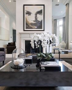 Its not what we have but who we have in our life that matters. Loving a dark coffee table with white accents by L & C company via - Architecture and Home Decor - Bedroom - Bathroom - Kitchen And Living Room Interior Design Decorating Ideas - Decor, Baby Room Interior Design, Table Style, Room Interior, Living Room Decor, Home Decor, Living Room Interior, Interior Design, Living Decor