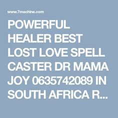 POWERFUL HEALER BEST LOST LOVE SPELL CASTER DR MAMA JOY 0635742089 IN SOUTH AFRICA RANDONTEIN PAY AF - Honda
