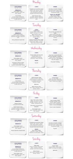 Printable 7 Day 500 Calorie Diet Menu with Grocery List ...