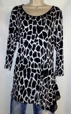 5a2fadd966cfb PETER NYGARD Womens Top Blouse Shirt Black White Animal Print XL   PeterNygard  Blouse Underarm