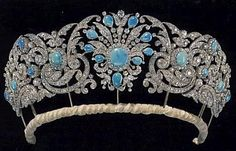 The Gloucester Turquoise tiara c1850. Also known as the Teck Turquoise tiara. It was a gift from Queen Mary's mother Princess Mary Adelaide, the Duchess of Teck. In 1935 Queen Mary gave it to her daughter-in-law Alice, the Duchess of Gloucester, as a wedding gift.