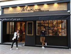 Maxime Bakery Café: the facade - Famous Last Words Cake Shop Interior, Cafe Interior Design, Cafe Design, Bistro Design, Restaurant Exterior Design, Cafe Exterior, Bakery Shop Design, Coffee Shop Design, Shop Signage