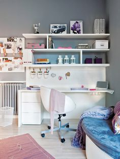 Most Popular Study Table Designs and Children's Chairs Today My New Room, My Room, Dorm Room, Girl Bedroom Designs, Girls Bedroom, Bedroom Decor, Study Table Designs, Open Shelving, Room Inspiration