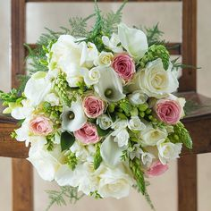 A couture bouquet of opal-like avalanche roses with luxury, two-toned pink and white esperance roses, scented white freesia with luxury crystal-blush, white calla lilies and delicate foliage. Bride Bouquets, Flower Bouquet Wedding, Floral Wedding, Flowers London, Rose Stem, Home Flowers, Arte Floral, Calla Lily, Flower Delivery