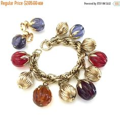 Napier Chunky Charm Bracelet Earring Demi, Glass Melon Shaped Charms, Gold Tone Ribbed Charms, Mid Century, Designer Signed