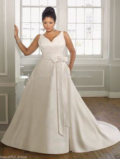 74bcecb14cd Plus Size Wedding Dress V-Neck Satin Bridal Gown 18 20 22 24 26 28 30
