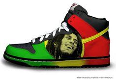 Bob Marley Shoes, Bob Marley T Shirts, Bob Marley Legend, Bob Shoes, Reggae Style, Nike Shoes, Shoes Sneakers, Nesta Marley, Painted Sneakers