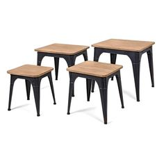 Imax Harlow Wood and Metal Nesting Display Tables - Set of 4 (Bookshelve), Beige Metal Nesting Tables, End Table Sets, Wood Square, Luxury Home Decor, Wood And Metal, Living Room Furniture, Loft Furniture, Furniture Outlet, Online Furniture