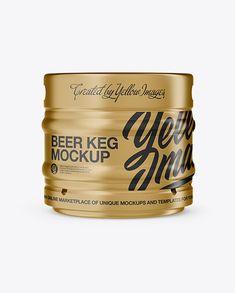 30L Metallic Beer Keg Mockup - Front View (Eye-Level Shot)