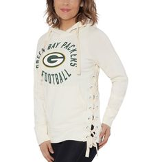 1932a7190 Touch by Alyssa Milano Green Bay Packers Women s White Weekend Raglan  Pullover Hoodie