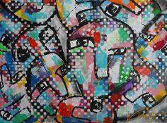 """Dit moderne schilderij """"Verborgen gezichten"""" bestaat uit een veelvoud aan gezichten die met elkaar verbonden zijn. De gezichten zijn met een verscheidenheid aan kleuren ingevuld en achter een gordijn van witte vierkantjes verborgen."""