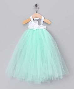 Take a look at this Mint Flower Tulle Dress by All the Little Things on #zulily today!