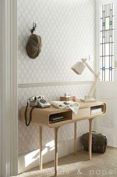 papel pintado trellis marrón, telas & papel