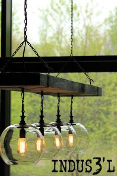 Beautiful Reclaimed Wood Beam Chandelier with burned wood, black sockets & chains with 4 clear glass globes. Wood Chandelier, Globe Chandelier, Chandeliers, Lustre Vintage, Rustic Industrial Furniture, Industrial Vintage, Industrial Style, Diy Luminaire, Industrial Light Fixtures