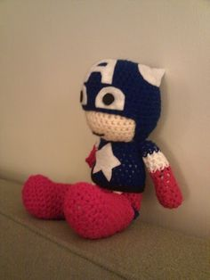 Captain America Inspired Crochet doll by HookedHands on Etsy, $25.00