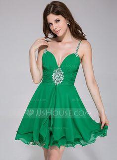 A-Line/Princess Sweetheart Short/Mini Chiffon Holiday Dress With Ruffle Beading Sequins (020037390) - JJsHouse