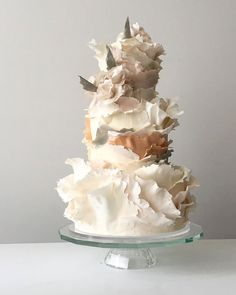 Modern Masterpieces ~ Jasmine Rae Wedding Cakes ~ torn paper effect wedding cake in blush, sage, ivory and peach