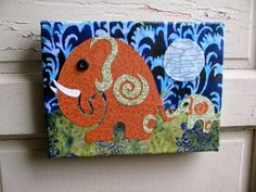 Follow My Lead - jungle elephants fabric collage wall art - NO FRAME NEEDED on ETSY