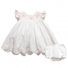 Sarah Louise  Baby Girls Hand Smocked Embroidered Dress & Knickers Set