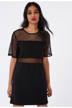 Fishnet Panelled T-Shirt Dress Black