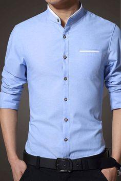 """"" Plain Stand Collar Autumn Men's Shirt Shirt """" Plain Stand Collar Autumn Men's Shirt # Camisa de hombre """" Formal Dresses For Men, Formal Men Outfit, Formal Shirts For Men, Men Shirts Style, Mens Casual Shirts, Men Formal, Shirt Style, Mens Designer Shirts, Designer Suits For Men"