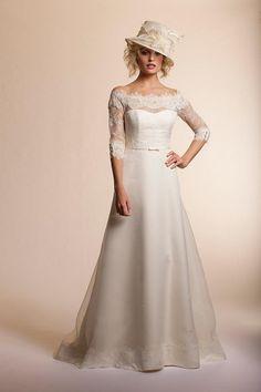 Wholesale Wedding Dresses - Buy Elegant A-line White Ivory Organza Lace Half Sleeve Wedding Dress Bridal Gown Size Free, $99.93 | DHgate.com