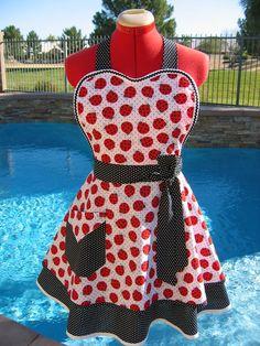 Ladybug Apron Custom Sizes Womens Pin Up by sassyapron on Etsy