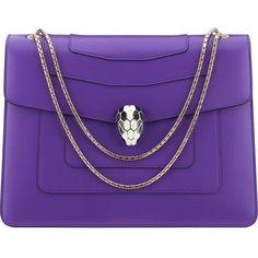 BVLGARI Serpenti Forever Hobo calf-leather shoulder bag ($2,995) ❤ liked on Polyvore featuring bags, handbags, shoulder bags, purses, violet dark, clasp purse, calfskin purse, hobo purse, hobo handbags and bulgari handbags