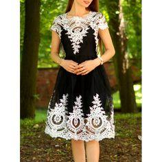 Women's Vintage Lace Square Neck Short Sleeve Dress