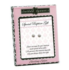 Pearl Baptism Earrings - Child's simple and classic sterling silver pearl stud earrings for girls White freshwater pearl earrings every girl should have. These are presented in a sweet black/pink box with special verse about their baptism! Baptism Gifts, Christening Gifts, Cross Earrings, Pearl Stud Earrings, Heart Shaped Earrings, Girls Earrings, Sterling Silver Cross, Baby Girl Gifts, Book Gifts