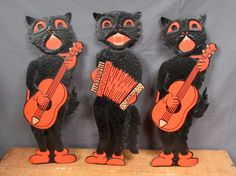 "Vintage 3 RARE 1940s H E Luhrs Beistle Black Cats Band 18"" Halloween Die Cuts 
