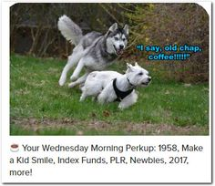 ☕ Your Wednesday Morning Perkup: 1958, Make a Kid Smile, Index Funds, PLR, Newbies, 2017, more!