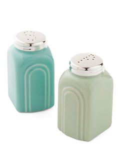 Pastel Me the Recipe Shaker Set. A bestie brunch in your breakfast nook is always more delightful with the soft-sage and sky-blue tones of these ceramic shakers by One Hundred 80 Degrees flavoring your must-make-again fare!  #modcloth