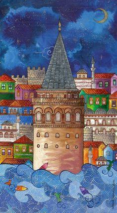 Contact Canan directly – Nil Tekgül – Join the world of pin Istanbul, Middle Eastern Art, Iranian Art, Islamic Wall Art, Guache, Turkish Art, Islamic Art Calligraphy, China Painting, Naive Art