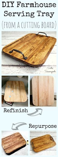 Looking for rustic farmhouse style decor on the cheap? Repurpose a beat up old cutting board from the thrift store into a gorgeous serving tray! Inexpensive and easy to make, everyone will think you bought it from a high end Fixer Upper type store! Great for holidays or just decor, this is a fun thrift store upcycle makeover from #SadieSeasongoods / www.sadieseasongoods.com #WoodworkingCuttingBoard