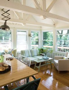 Inspired by Cape Cod beach houses, decorator Heidi Smith infused her living spaces with plenty of white, mint green and pale blue. Beach Cottage Style, Lake Cottage, Cozy Cottage, Buying A New Home, Exposed Beams, Cottage Interiors, White Rooms, Decoration, House Colors