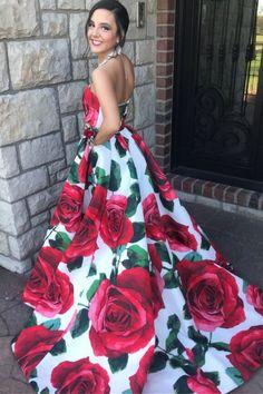 Rose Floral Long Prom Dress Graduation Dress Beautiful Prom Dresses, Cheap Prom Dresses, Pretty Dresses, Homecoming Dresses, Full Gown, Graduation Dresses, Formal Gowns, Dress P, Evening Dresses
