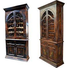 Wine Cabinet Spanish Mission Style Iron Hardware Solid Mahogany Handmade New   eBay