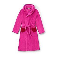 635c84edd Lands' End - Pink girls' plain fleece dressing gown Lands End, Pink Girl