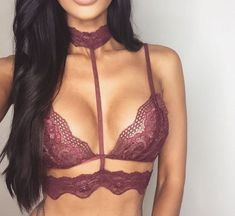 Women's Crop Tops Lace Choker Sheer Bralette Bustier Unpadded Bra Lingerie (S, wine red): Specificationbr Gender:Womenbr Material:Lacebr Clothing Length:Regularbr Pattern Type:Solidbr Style:Fashion/Sexybr Package Bra Sexy Lingerie, Pretty Lingerie, Babydoll Lingerie, Beautiful Lingerie, Women Lingerie, Babydoll Tops, Vintage Lingerie, Sexy Bra, Purple Lingerie