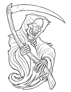 Attraktives Outline Sensenmann Tattoo Design Source by jessicaslyfield Skull Tattoo Design, Skull Tattoos, Tattoo Designs, Tattoo Ideas, Joker Tattoos, Face Tattoos, Flash Art Tattoos, Grim Reaper Art, Grim Reaper Tattoo