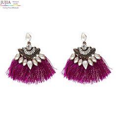 JUJIA 2017 New crystal earrings fashion women statement tassel Earrings for women stud Fringing earrings