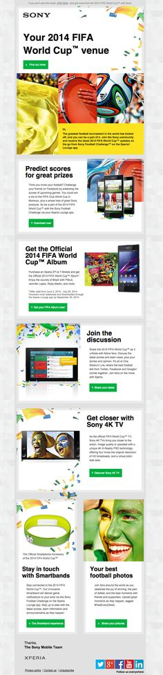 Sony - Your 2014 FIFA World Cup venue. Newsletter email design inspiration #email #design #newsletter #emaildesign