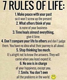 7 Rules Of Life - ø Eminently Quotable - Quotes - Funny Sayings - Inspiration - Quotations ø Wisdom Quotes, True Quotes, Words Quotes, Quotes To Live By, Motivational Quotes, Inspirational Quotes, Affirmation Quotes, Quotable Quotes, Spiritual Quotes